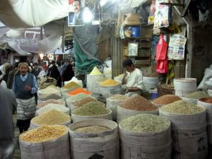 Sana'a suk market, beans seller