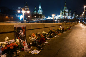A memorial to the slain opposition leader Boris Nemtsov, who was assassinated here 27 February 2015 outside the walls of the Kremlin. Image by Marco Fieber.